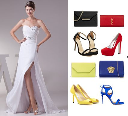 wearing-white-evening-dress-with-contrasting-color-accessories