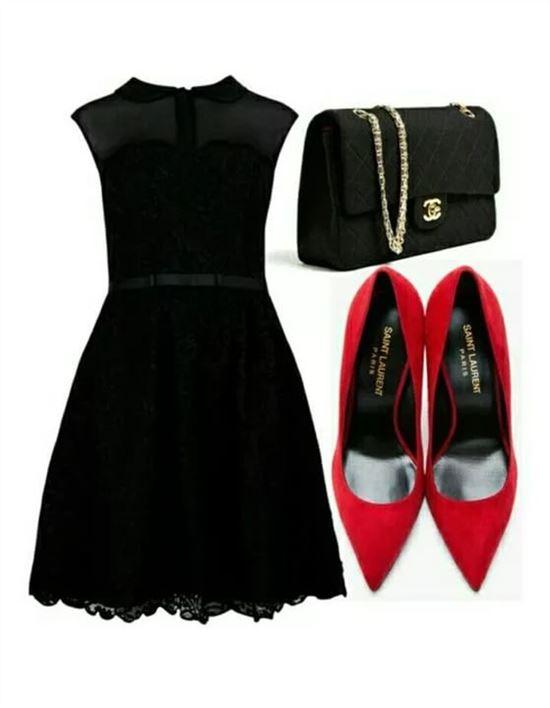 Черное платье с красными аксессуарами фото