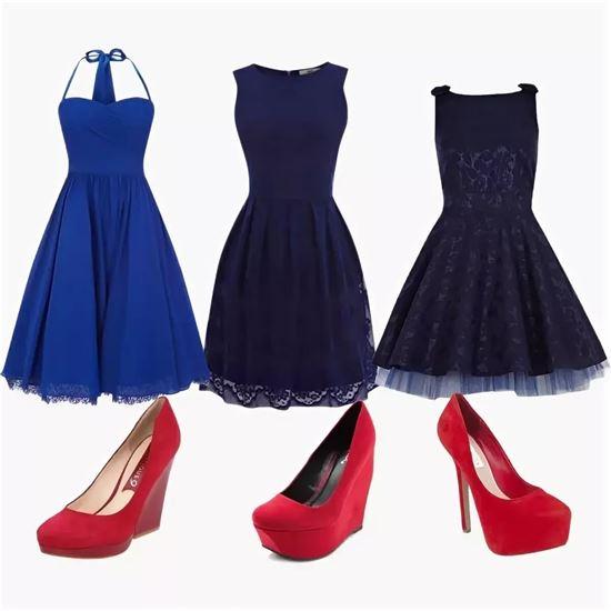 извилистые синие туфли и красное платье фото селекции уникальной