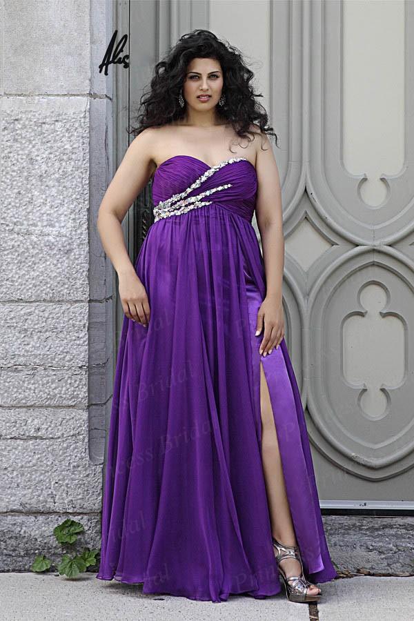 Free-Shipping-2014-Sheath-Sweetheart-Chiffon-Lace-Up-Back-Long-Purple-font-b-Big-b-font